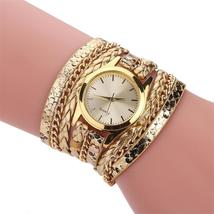 MINHIN Brand Quartz Watches Women Gold Geneva Bracelet Wristwatch Ladies... - $26.40