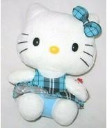 ORIGINAL HELLO KITTY BEANIE CAT AQUA TARTAN PLAID OUTFIT U.S.A - $8.34