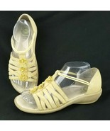 Earth Shoe Muse Sandal Pale Yellow Size 8 Wedge Heel Slip On Floral Strappy - $23.07