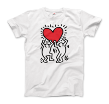 Keith Haring Men Holding Heart Icon, Street Art T-Shirt - $19.75+