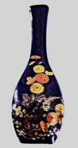Japanese Style Cobalt Blue and Gold Porcelain Vase Flower Design - $4.20