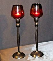 Red Cut Glass Candlestick Holders AB 312 Vintage image 9