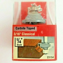 """Vermont American Router Bit Carbide Tipped 3/16"""" Classical 1/4 """" Shank no. 23154 - $14.99"""
