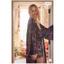 New Free People Enchanted Velvet Maxi Robe $168 XS Fairytale Combo - $88.20