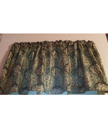 Gold metallic Brown Teal Gold Paisley Curtain Topper Valance - $8.70