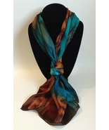 Hand Painted Silk Scarf Emerald Green Turquoise Chestnut Cognac Womens H... - $44.00