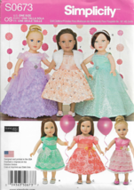 """Simplicity Pattern #S0673-Elaine Heigl-Doll Clothes Fits an 18"""" Doll - $9.46"""