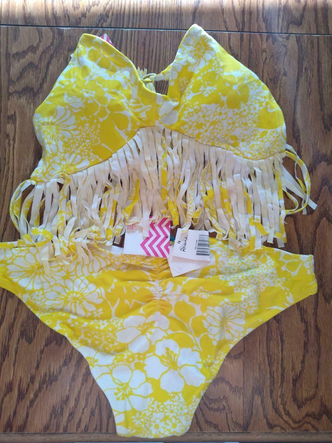 Raisins Yellow Fringe Two Piece Bikini Set Size Large