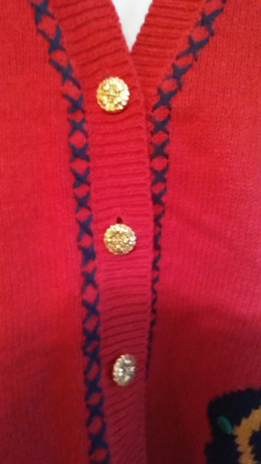 Jantzen Sweater Vest Women Size S/P  Hand Embroidered Classics  Red   NWT image 6