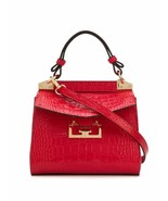 $2690 Givenchy New Mini Mystic Embossed Croc Red Leather Cross Body Bag - $1,566.04