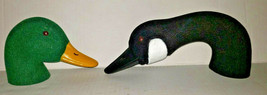 Set Of 2 Plastic Canadian Goose / Mallard Heads Vintage For Crafts Or Decoy - $22.99
