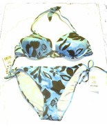 Sz D/XL - NWT$100 Sunsets Kona Reef Blue Halter Top & Tie Side Bikini Bo... - $61.75