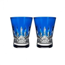 Waterford Lismore Crystal Pops Cobalt Double Old Fashioned, Pair New Gif... - $149.59