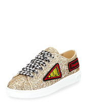 Miu Miu Glitter Sneakers with Patches, Gold Size 36.5 MSRP: $650.00 - $395.99
