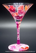Lolita Don't Be Puzzled Martini Glass Hand Painted Pink Pieces Drink Rec... - $19.95