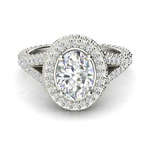 1.37Ct Oval Gorgeous Diamond Twisted Halo Engagement Ring In 14K White G... - $99.74