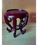 "GORGEOUS HANDCARVED CHINESE MINI TABLE STYLE STAND FOR SMALL BOWL 4"" H x 3.25"" W - $25.00"