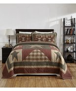 Primitive Stars Burgundy black tan Quilted Bed 3/pc Sets King Queen Line... - $165.00+