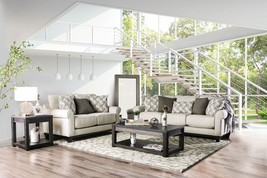 Argos Transitional Style Sofa Set in Beige Chenille with Free Accent Pil... - $2,238.00
