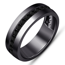 Mens Hip Hop Engagement Wedding Band Pinky Ring 1Ct Diamond Real Black G... - $92.99