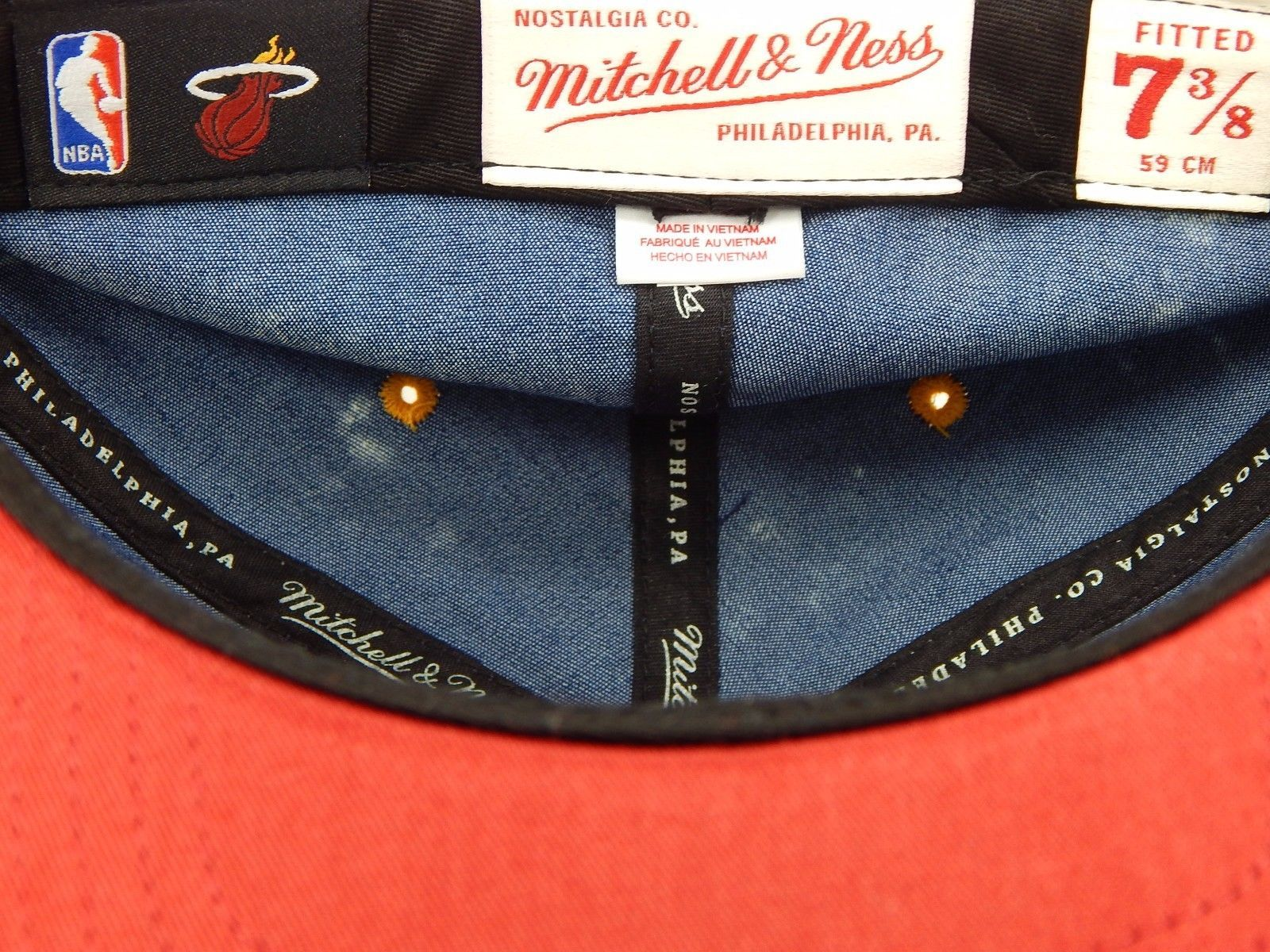 Miami Heat Mitchell & Ness Size 7 3/8 Crown Fitted NBA Cap Hat Blue Jeans Denim