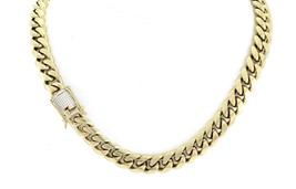 Mens Miami Cuban Link Chain 14k Gold Over Stainless Steel 1ct Lab Diamon... - $45.30