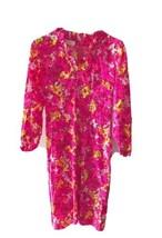 Vtg 70s Wilroy L/s Hot Pink Floral Print Sheath Dress Midi  ruffle Mod H... - $29.65