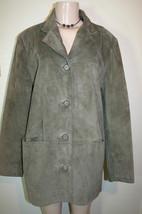 ISZ Sage Green Soft Suede Leather Jacket Coat Womens Sz M - $24.46