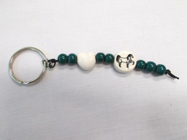 CERAMIC WHITE HEART SHAPE BEAD & TENNESSEE WALKER HORSE w GREEN ACCENTS ... - $5.99