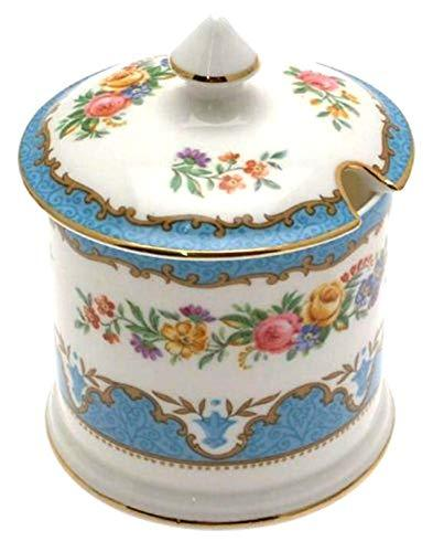 Primary image for Crown Staffordshire Tunis Blue F15793 jam or marmalade pot