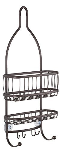 InterDesign York Metal Wire Hanging Shower Caddy, Extra Wide Space for Shampoo,