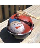 66283  - Snowman Red metal Bell Ornament with Blue  Hat  - $1.95