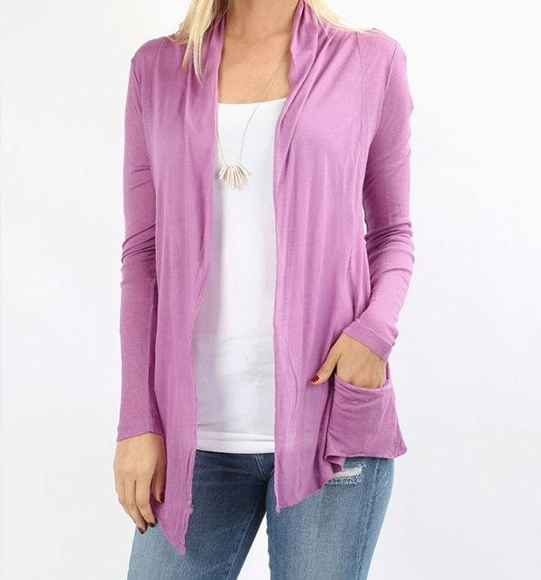 Lilac Open Front Flyaway Cardigan, Lightweight Rayon Layering Sweater, Womens