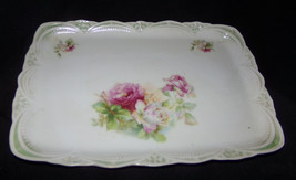 Antique THREE CROWN CHINA DRESSER TRAY Pink Roses Rectangular Porcelain ... - $8.49