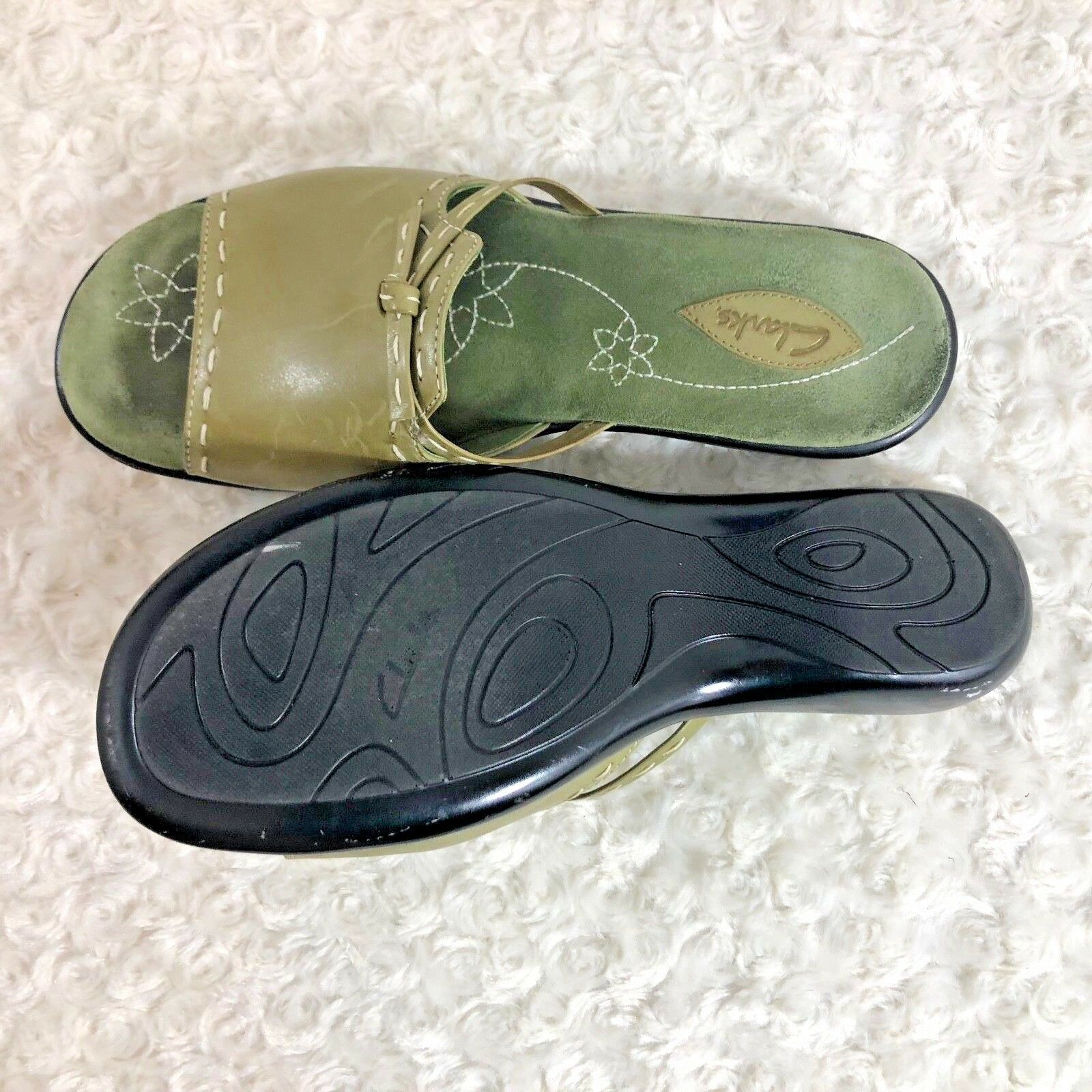 clarks Womens Sz 9 M Green Leather Slide Slip On Flat Shoes