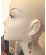 silver skull dog tag earrings red bead drops day of the dead handmade je... - $5.99
