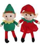 Christmas Santa Helper-ELF TWINS SHELF DOLL-Boy Girl Stuffed Plush Toy P... - $7.89