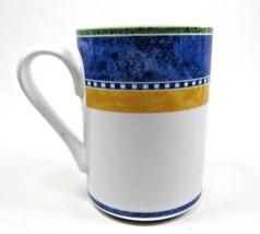 "2 DANSK Bistro  Kobenhavn 4 1/8"" Coffee Mug Blue yellow white  - $9.89"