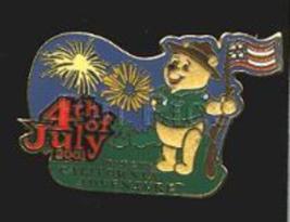 Disney Pin 5626 Disneyland 4th of July Pooh Flocked American Flag Patrio... - $60.53