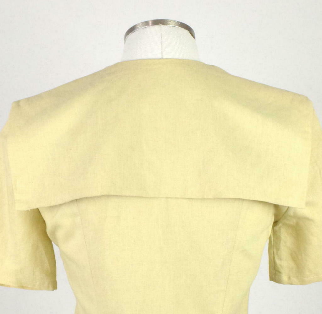 Vintage 80s Beige Cream Maxi Dress Cracker Jack Collar Short Sleeve Retro Size M image 6