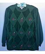 Alfred Dunner Argyle Diamond Pullover Sweater Floral Embroidery Women Si... - $21.24