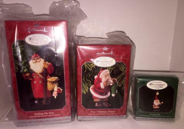 Primary image for 1998 HALLMARK COLLECTOR'S CLUB MEMBERSHIP KIT SET OF 3 ORNAMENTS! NEW IN BOXES