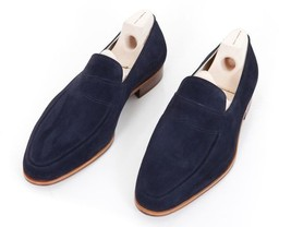 Handmade Men Navy blue suede shoes moccasins, Men blue casual shoes slip... - $169.99