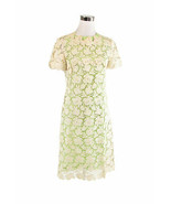 Ivory floral lace green lined short sleeve vintage sheath dress S - $37.50