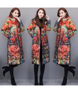 Women's Down  Winter Coat Long Floral Down Parka Hooded Ladies Overcoat - $317.95