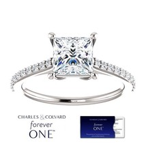1.50 Carat Forever One Princess Cut Moissanite Ring 14K Gold (Charles&Co... - $895.00