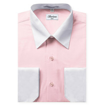 Berlioni Italy Men's Classic Standard Convertible Cuff Pink Dress Shirt - LARGE