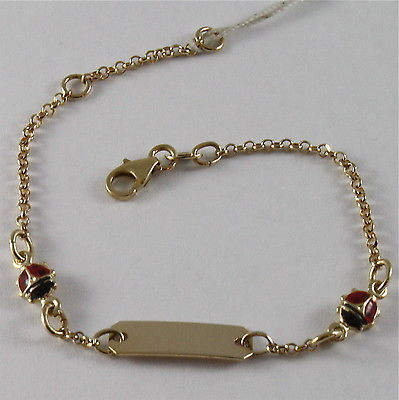 SOLID 18K YELLOW GOLD BRACELET ENGRAVING PLATE, MADE IN ITALY CHILDREN, LADYBIRD