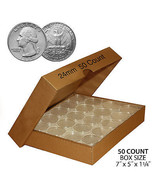 50 QUARTER Direct-Fit Airtight 24mm Coin Capsule Holder QUARTERS QTY: 50... - $15.85