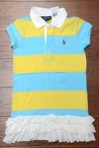 Polo Ralph Lauren Toddlers Girl's Striped Blue/Yellow Cotton Polo Dress 3 - $17.81